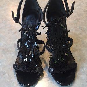 Tory Burch black fringe tassel high heel sandals